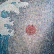 Fukushima. Interior panels in the frame. Based on Hokusai. canvas, oil. 2011