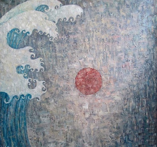 Fukushima. Interior panels in the frame. Based on Hokusai. canvas, oil. 2011