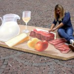 Gourmet festival in South Tirol, an interactive 3d-street painting on PVC