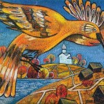 Fire-bird flying over the village. Artwork by Russian mixed media artist Grigory Ksenew