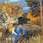 An owl flying over the river. Artwork by Russian mixed media artist Grigory Ksenew