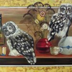 Still life with owls and a bottle of rum. Artwork by Russian mixed media artist Grigory Ksenew