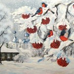 Red rowan in Winter. Painting by Russian mixed media artist Grigory Ksenew