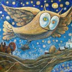 Night hunter. An owl carrying a mouse in its claws. Artwork by Russian mixed media artist Grigory Ksenew