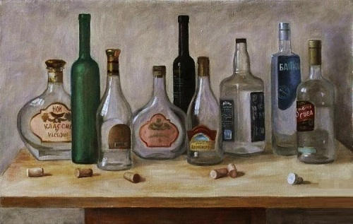Still life with bottles. 2011. Oil on canvas