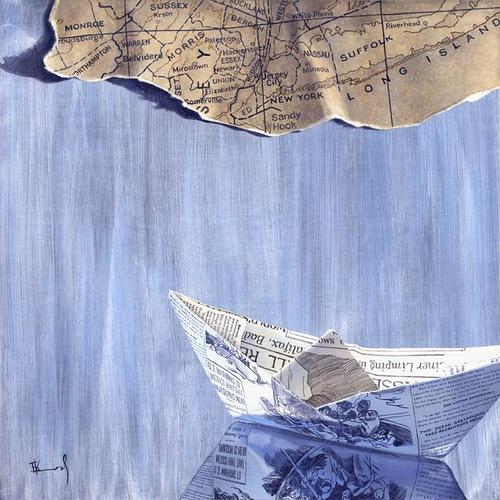 Paper boat. Hyperrealistic painting by Bulgarian artist Boyko Kolev