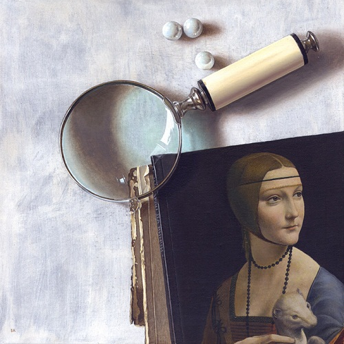 Classic reproduction and Magnifier. Hyperrealistic painting by Bulgarian artist Boyko Kolev