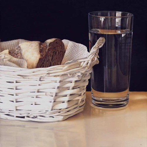 A basket and a glass. Still life painting by Bulgarian artist Boyko Kolev