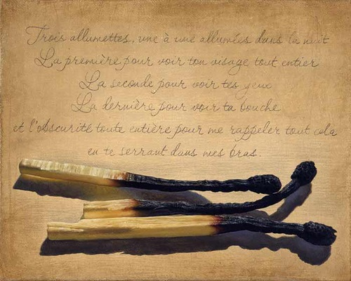 Burnt matches on a vintage paper. Still life painting by Bulgarian artist Boyko Kolev