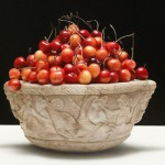 Cherries in a vase. Still life. Hyperrealistic painting by Italian artist Luciano Ventrone