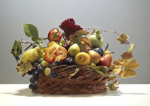 Basket of fruits. Still life. Hyperrealistic painting by Italian artist Luciano Ventrone