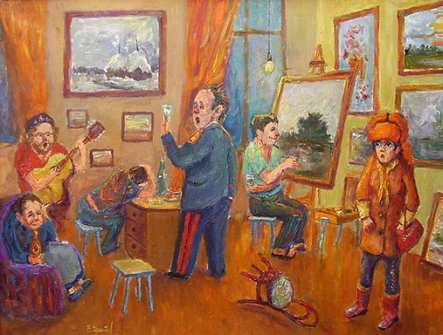 In the artist's studio. 2007. Canvas, oil