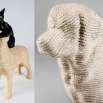 Best friends forever. Labrador retriever Lumpi – the Dog scratchpost for cats invented by Dutch designer Erik Stehmann