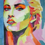 Colorful portrait of Madonna. Watercolor on paper, artist by Tatyana Abramova