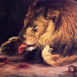 Painting by Henry Ossawa Tanner – Lion licking its paw