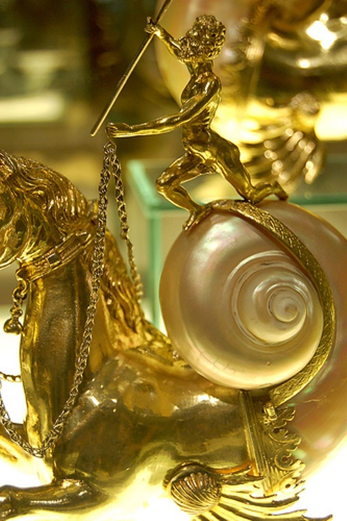 Nautilus shell and gilded gold at the Applied Arts Museum in Budapest