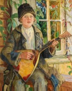 Nikolay Bogdanov-Belsky. Boy with Balalaika