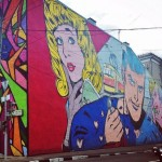 Comics style brightly painted wall. MOST Moscow Street Art Festival
