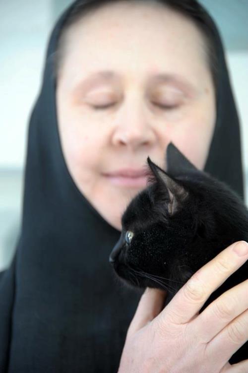 Black cat and Orthodox nun