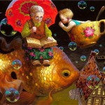 Granny's tale. Fabulous painting by Russian artist Victor Nizovtsev