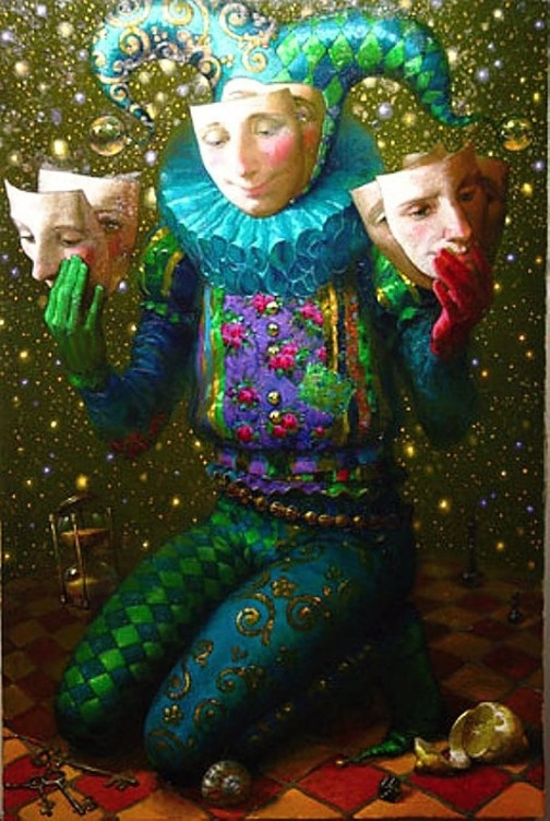 Mermaids and jesters in Victor Nizovtsev's painting