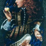 Queen of hearts holding an apple. Painting by Russian artist Victor Nizovtsev