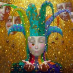 Masks watching you. Painting by Russian artist Victor Nizovtsev