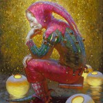 Thought of jester. Painting by Russian artist Victor Nizovtsev