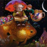 Living on a fish. Painting by Russian artist Victor Nizovtsev