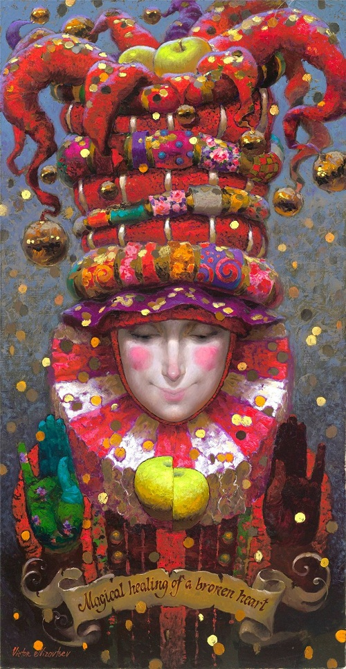 Magical healing of a broken heart. Painting by Russian artist Victor Nizovtsev