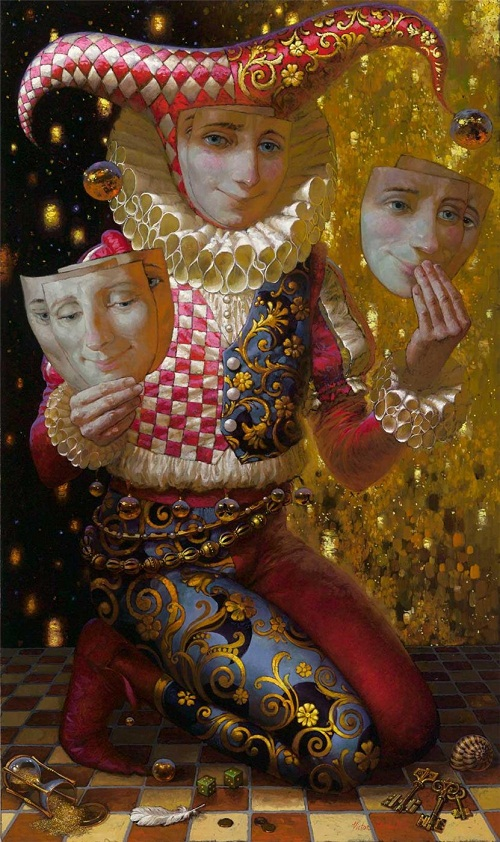 Sad clown changing masks. Painting by Russian artist Victor Nizovtsev