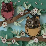 Detail of Paper Owl Town by British artist Helen Musselwhite