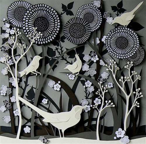 Fabulous Paper forest with blooming trees, flowers and birds by British artist Helen Musselwhite