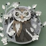 Gray Owl. Paper cut art by British artist Helen Musselwhite