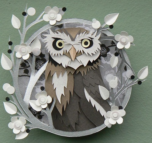 Gray Owl. Paper cut art by British artist Helen Musselwhite