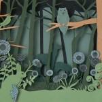 Green Paper Owl Town by British artist Helen Musselwhite