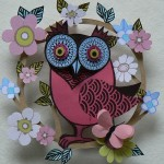 Colorful Paper Owl in a flower frame