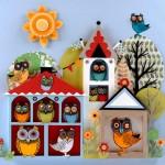 Bird house for owls. Paper cut art by Helen Musselwhite