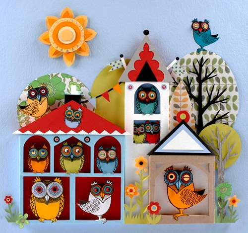Bird house for owls. Paper cut art by Helen Musselwhite