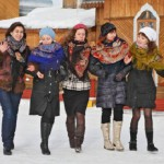 A group of girls in Pavlovsky Posad Shawls