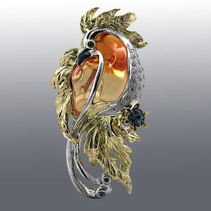 Pendant. Stones Diamonds, Sapphire, Emerald, Opal. Material Gold 750