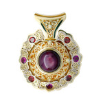 Pendant. Stones Diamonds grit, Rhodolites, Star-shaped ruby.