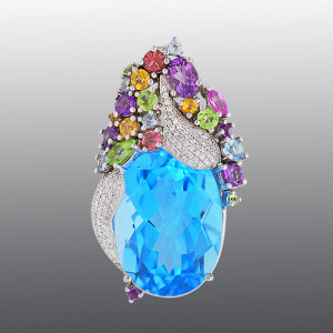 Pendant. Stones diamond grit, Amethyst, Topaz, Citrine, Peridot, Sapphire, Tourmaline, Material Gold 585