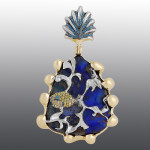 Pendant. Stones diamond grit, Opal. Material Gold 585