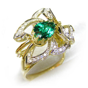 """Ring """"Wood Nymph"""". Stones Emerald, Diamond, Material Gold 750"""