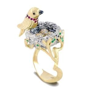 Ring Bird. Stones - Diamonds, Emerald, Ruby. Material - Gold 585