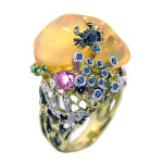 Ring. Stones Diamonds grit, Emerald, Sapphire, Opal, Material Gold 750