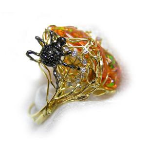 Ring. Stones Opal, Diamond, Citrine, Amethyst, Enamel. Material Gold 750