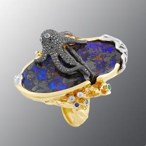 Ring. stones diamonds, Emerald, Sapphire, Rubin, Opal