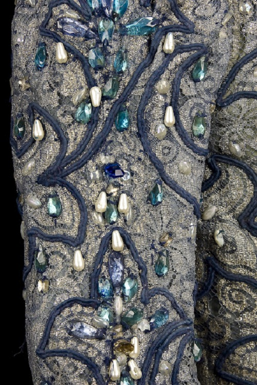 Prince Siegfried, Act I, in Swan Lake, Vienna State Opera Ballet, 1964. Silver lace and blue silk doublet, trimmed with blue rhinestones, faux pearls, pleated linen collar and cuffs, and blue soutache